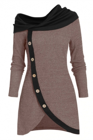 Casual Women's Long Sleeve Asymmetric Neck Button Down Contrasted Fitted Short Wrap A-Line Dress LM581278 фото