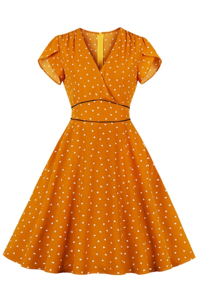 Cute Boutique Orange Short Sleeve Surplice Neck Zip Back Contrasted Heart All Over Print Ruched Midi Pleated Wrap Flared Dress for Girls