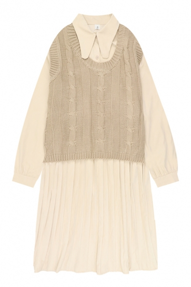 Cute Daily Girls' Long Sleeve Lapel Neck Button Front Pleated Cable Knit Two-Piece Sweater Vest Dress in Apricot