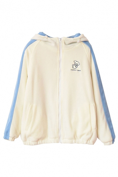 Cute Fashion Girls Long Sleeve Hooded Zipper Front Puppy Patterned Letter PAPA DOG Contrasted Baggy Fluffy Coat in Beige