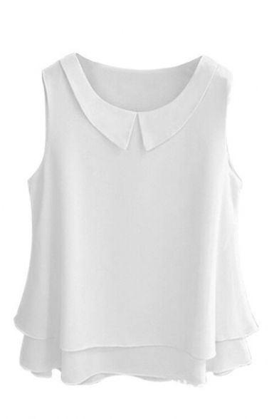Elegant Women's Sleeveless Lapel Collar Tiered Plain Relaxed Fit Blouse Top