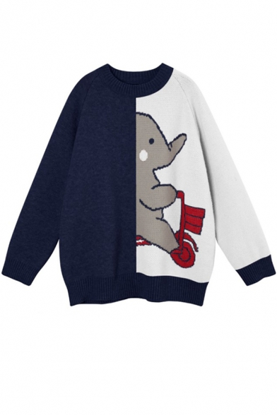 Girls Cute Elephant Print Colorblock Long Sleeves Round Neck Oversized Cocoon Sweater, Gray;navy, LM579965