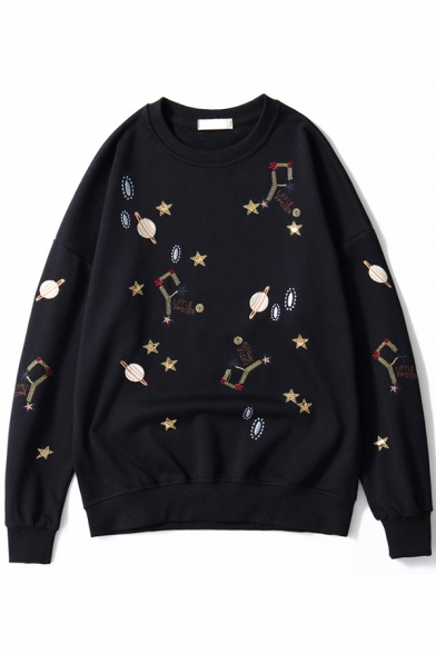 Girls Lovely Star Planet Embroidery Long Sleeve Round Neck Casual Loose Sweatshirt, Black;white;gray, LC582591