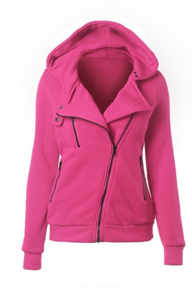 Ladies Exclusive Solid Color Oblique Zip Placket Long Sleeves Fitted Hoodie Coat