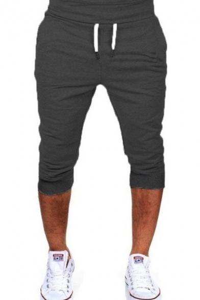 Mens Sport Stylish Drawstring Waist Plain Joggering Track Pants Cropped Trousers