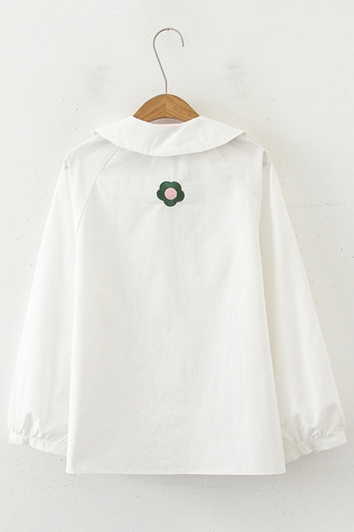 Sweet Style Floral Embroidery Peter Pan Collar Long Sleeve White Oversized Shirt with Tie