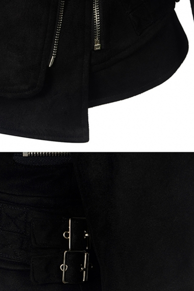 Unique Cool Girls Long Sleeve Lapel Collar Zipper  Buckle Embellished Leather Patched Asymmetric Plain Fitted Jacket