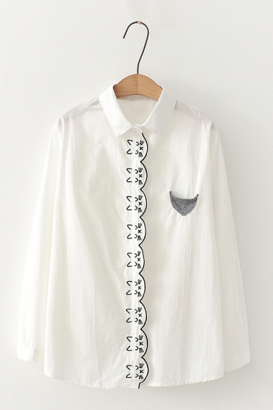 Womens Cute Embroidered Fox Printed Contrast Patchwork Long Sleeve Loose Striped Shirt