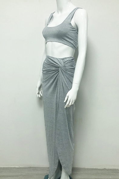 Womens Sexy Fashion Cropped Tank Top with Knotted Split Maxi Skirt Plain Two Piece Set