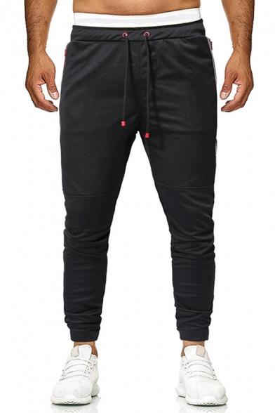 Active Color Block Zipper Pocket PU Leather Panel Drawstring Waist Casual Pants