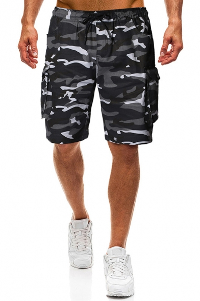 Black Camouflage Pattern Side Flap Pocket Drawstring Waist Straight Fit Cargo Shorts