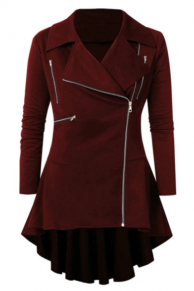 Chic Female Long Sleeve Notch Collar Zipper Embellished Plain Fitted Pleated Skirt Coat