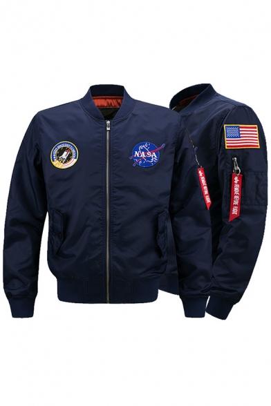 Classic Embroidery USA Flag NASA Print Letter Ribbon Decoration Zip Up MA-1 Flight Jacket