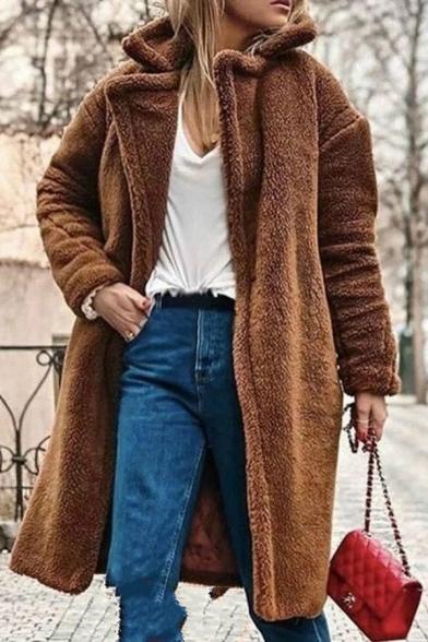 Cool Fashion Long Sleeve Notch Collar Sherpa Fleece Oversize Long Plain Open Front Coat for Women