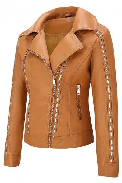 Fashion Plain Long Sleeve Peak Collar Zipper Rivet Decoration Leather Slim Fit Jacket for Girls