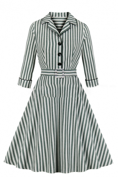 Formal Nice Girls' Roll Up Sleeve Notch Collar Button Front Belted Stripe Midi Pleated Flared Dress in Green