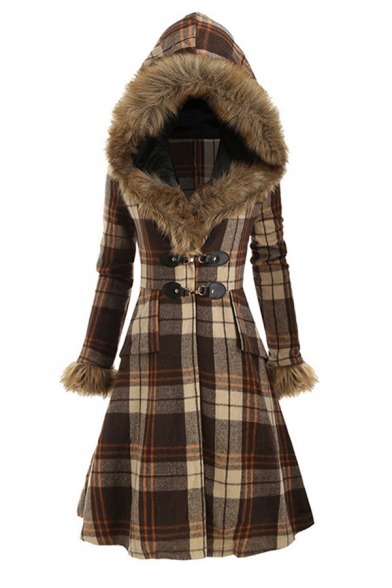 Ladies' Fancy Warm Long Sleeve Hooded Plaid Patterned Buckle Detail Sherpa Fleece Patched Long Fitted A-Line Coat