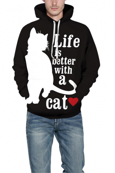 LIFE IS BETTER WITH A CAT Letter 3D Printed Long Sleeve Black Graphic Hoodie