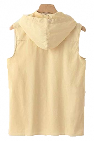Mens Active Solid Color Button Decoration Sleeveless Loose Fit Linen Hoodie Vest