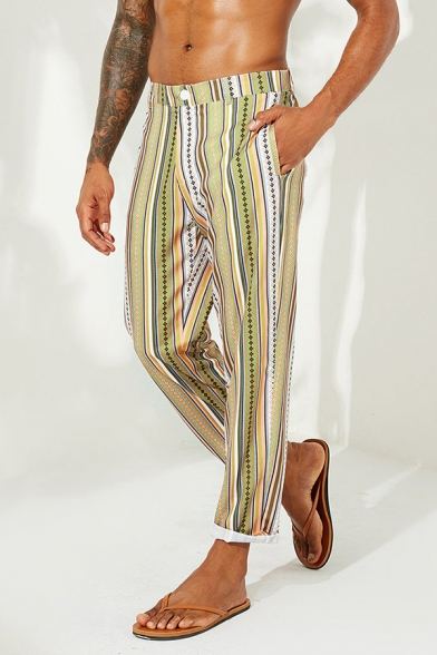Mens Vintage Yellow Vertical Stripe Printed Loose Fit Straight Pants