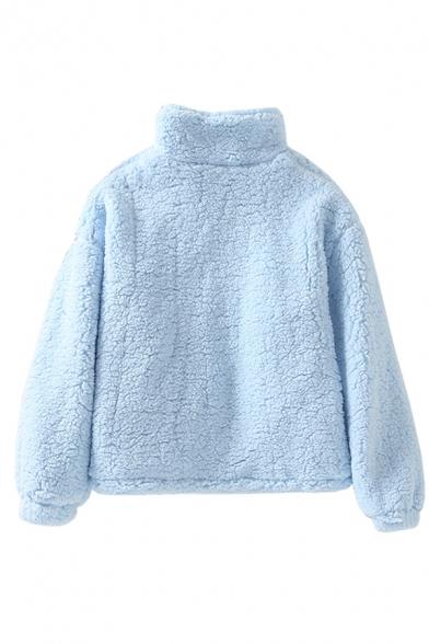 Plain Casual Long Sleeve Stand Collar Zipper Front Pockets Side Shearling Fleece Loose Jacket for Women