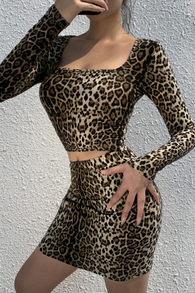 Simple Leopard Print Square Neck Glove Long Sleeve Crop Top with Mini Skirt Skinny Co-ords