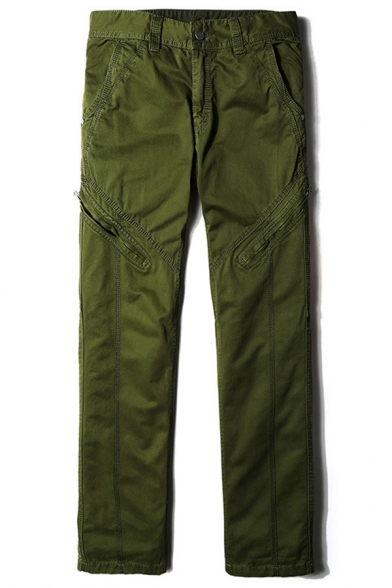 Solid Color Multi Pocket Zip Embellished Straight Leg Pants Cotton Pants for Men