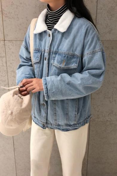 Trendy Girls' Long Sleeve Lapel Collar Flap Pockets Button Down Shearling Liner Baggy Plain Denim Jacket