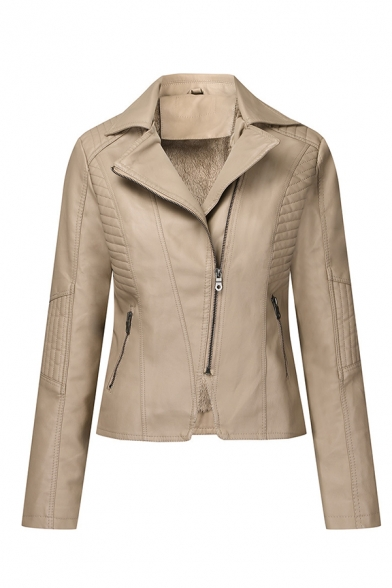 Trendy Girls' Long Sleeve Notch Lapel Collar Zipper Front Pockets Side Ruched Fitted Leather Plain Jacket, Black;pink;yellow;khaki, LM579462