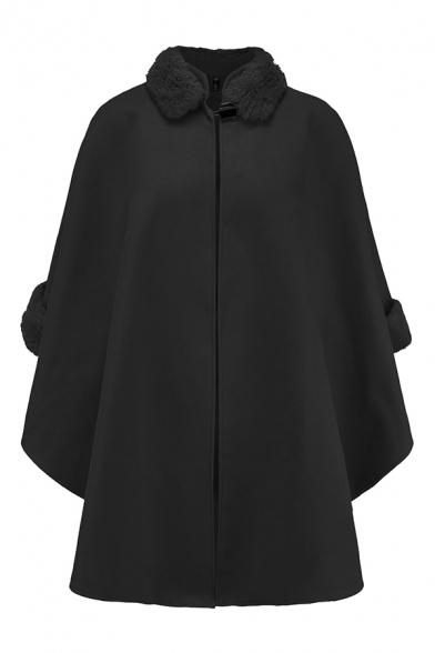 Unique Trendy Women's Long Sleeve Stand Collar Button Fluff Trim Plain Oversize Wool Coat Cape