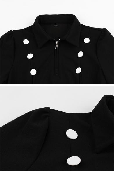 Vintage Ladies' Long Sleeve Lapel Neck Half Zip Double Breasted Midi Pleated Flared Dress in Black