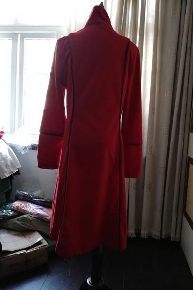 Vintage Unique Girls' Long Sleeve Lapel Neck Double Breasted Lace Trim Fitted Plain Long Bi-Layer Coat