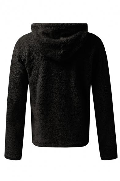 Winter Street Leisure Plain Long Sleeve Half Zip Placket Loose Fit Fuzzy Pullover Hoodie