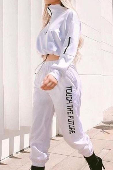 Active Half Zip Crop Sweatshirt & TOUCH THE FUTURE Letter Print Pants White Co-ords