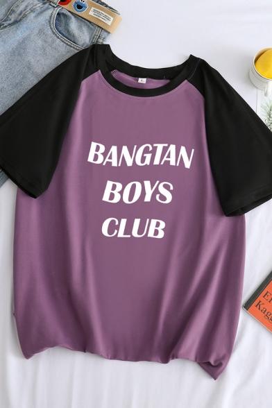 BANGTAN BOYS CLUB Letter Raglan Short Sleeve Round Neck Loose Fit Stylish T-Shirt, Blue;green;orange;white;purple, LC583425