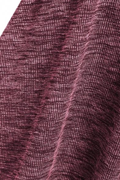 Basic Plain Long Sleeve V-Neck Midi Flared Wrap Pleated A-Line Dress for Women