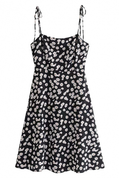 Black Summer Cute Sleeveless Bow Tie Strap Floral Printed Zip Back Pleated A-Line Dress for Girls