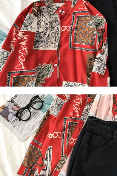 Casual Red Long Sleeve Lapel Collar Button Down All Over Mixed Print Oversize Shirt for Female