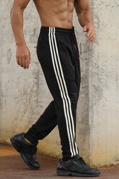 Casual Stripe Patchwork Drawstring Waist Zipper Pocket Slim Fit Quick-Dry Sport Pants