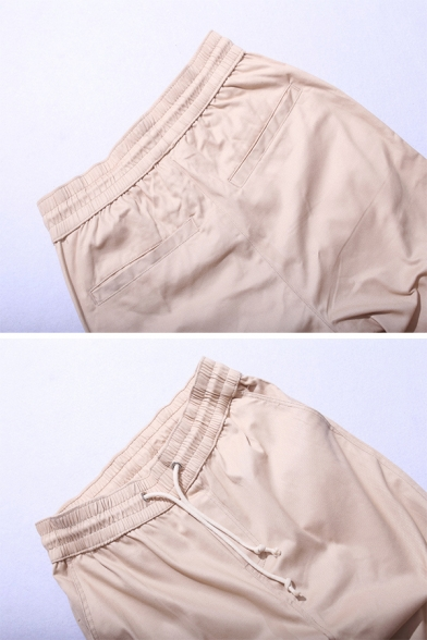 Cool Fashion Solid Color Pleated Detail Zipper Hem Skinny Fit Casual Pants with Drawstring