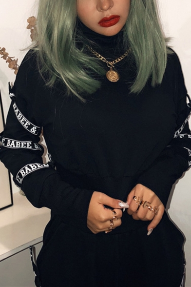 Cool Letter Tape Embellished Long Sleeve High Neck Cropped Top with Pants Black Sport Set