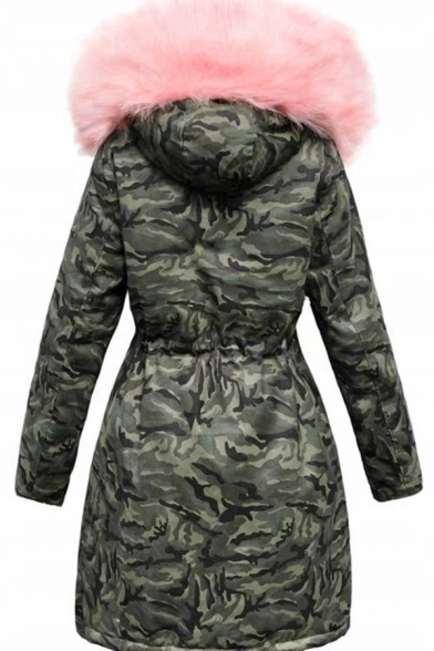 Cool Street Girls' Long Sleeve Hooded Button Zipper Front Drawstring Camo Pattern Shearling Trim Fitted Thick Plain Midi Parka Coat