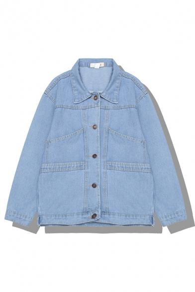 Cool Street Girls' Long Sleeve Lapel Collar Button Down Loose Fit Denim Jacket in Light Blue