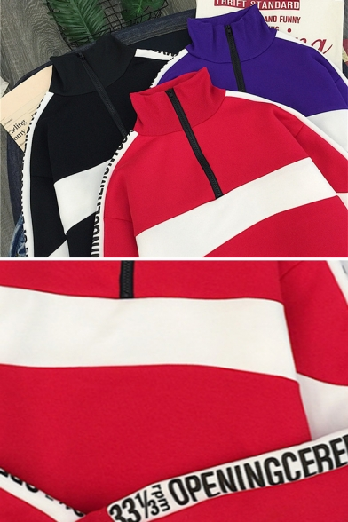 Cool Street Girls' Long Sleeve Stand Collar Half Zipper Contrasted Letter OPENING CEREMONY Loose Crop Pullover Sweatshirt