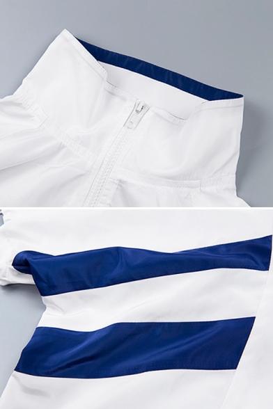 Dancing Girls' Balloon Sleeve High Neck Half Zip Stripe Print Drawstring Boxy Crop Pullover Sweatshirt in White