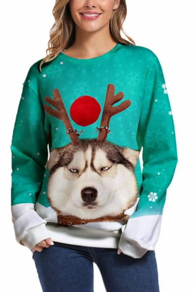 Fancy Dog 3D Pattern Long Sleeve Round Neck Loose Fit Green Pullover Sweatshirt
