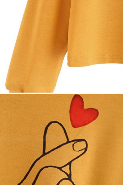 Fashion Girls' Long Sleeve Finger Heart Pattern Drawstring Loose Fit Crop Hoodie