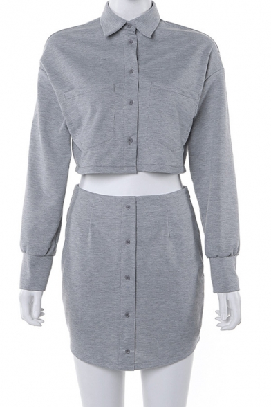 Female Casual Long Sleeve Button Down Crop Jacket Coat with Mini Skirt Gray Two Piece Set