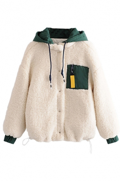 Girls Chic Warm Long Sleeve Hooded Drawstring Pocket Patched Button Down Sherpa Fleece Baggy Jacket in White