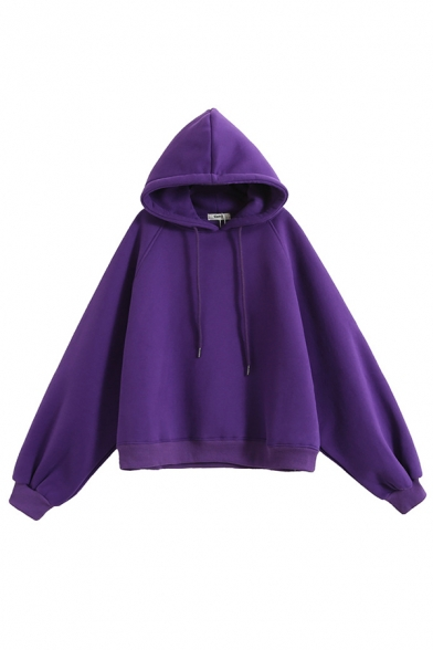 Hip Hop Style Long Sleeve Drawstring Baggy Plain Pullover Hoodie for Girls
